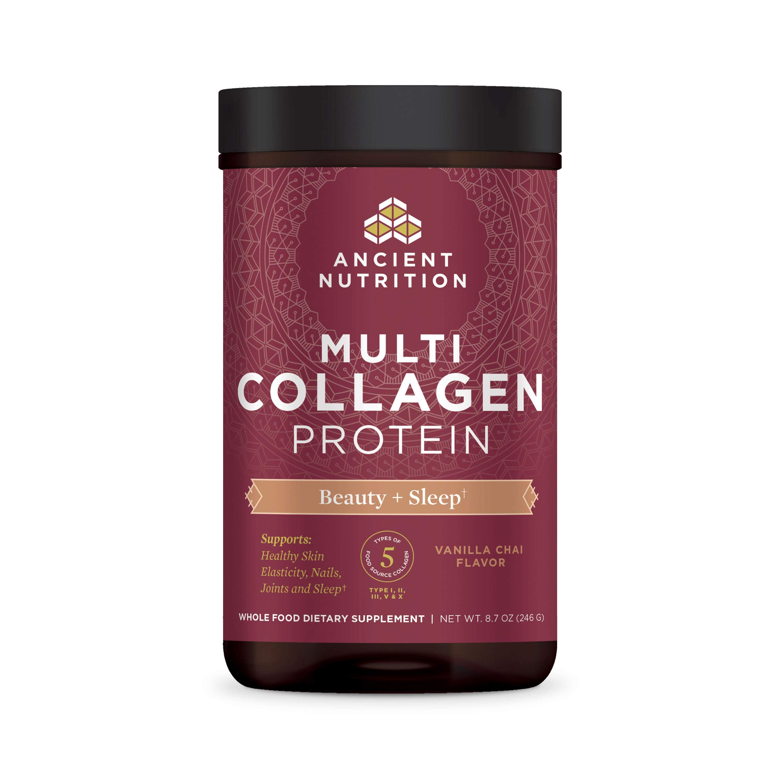 Ancient Nutrition Multi Collagen Protein Powder Beauty + Sleep, Vanilla Chai, Formulated by Dr. Josh Axe, Collagen Supplement Promotes Restful Sleep & Supports Hair, Skin, Nails, Joints & Gut, 8.7oz