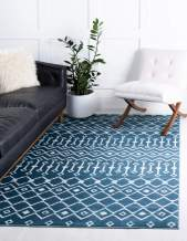 Rugs.com Geometric Kasbah Trellis Collection Rug – 2' X 3' Blue Low Pile Rug Perfect for Living Rooms, Large Dining Rooms, Open Floorplans