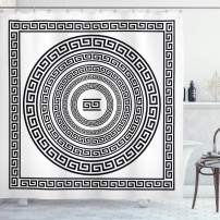 "Ambesonne Greek Key Shower Curtain, Traditional Meander Border Set with Square and Circles Antique Frame Pack, Cloth Fabric Bathroom Decor Set with Hooks, 70"" Long, White and Black"