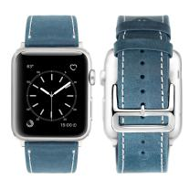 iBazal Compatible iWatch Band, 42mm 44mm [Vintage Style] Genuine Leather Watchband with Stainless Steel Clasp Buckle Replacement for iWatch Series 4&3&2&1& Edition - Vintage Blue 42/44mm