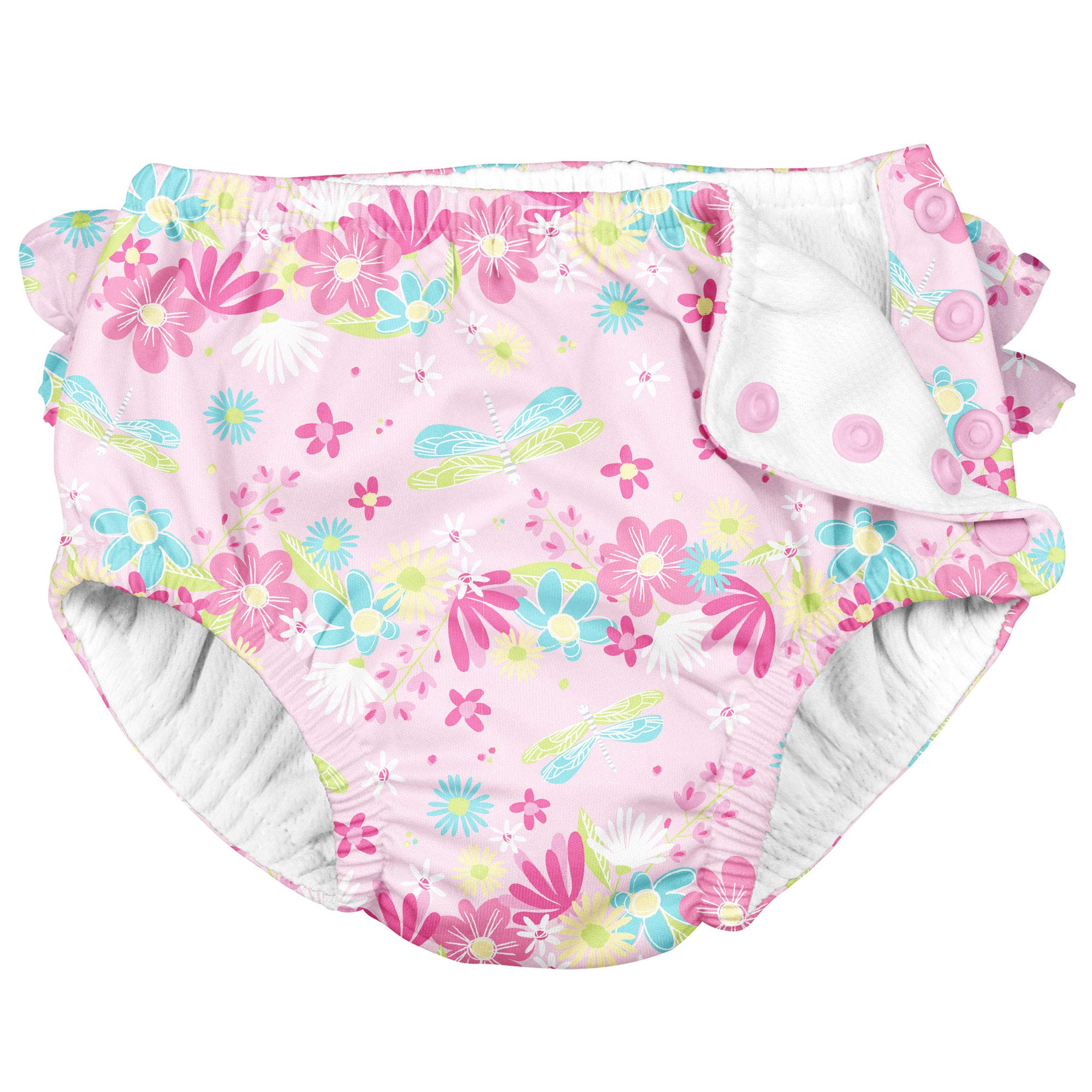 i Play Girls Reusable Absorbent Toddler Swim Diapers - Swimming Suit Bottom | No Other Diaper Necessary Pink Dragonfly 3T