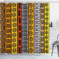 """Ambesonne Tribal Shower Curtain, Motifs with Hand Drawn Style Borders Pattern Artwork, Cloth Fabric Bathroom Decor Set with Hooks, 84"""" Long Extra, Black Orange"""