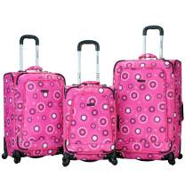 Rockland Fusion Softside Spinner Wheel Luggage, Pink Pearl