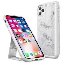 Amber & Ash Strap Stand Case for iPhone 11 Pro (5.8in) - Vertical and Horizontal Kickstand - Hand Grip - Reinforced Drop Protection - Flexible TPU - Pearl Gray Marble