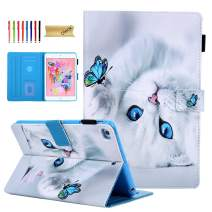 Dteck Case for iPad 10.2 7th Generation 2019 - Slim Fit Premium PU Leather Folding Stand Smart Shockproof Cover with Pencil Holder, Auto Wake/Sleep, Wallet Pocket, White Cat