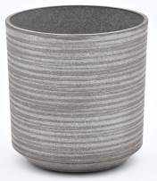 TABOR TOOLS Round Plastic Planter, Light Weight Material Painted in Trendy Colors, Features Optional Drainage Hole with Plug, Height 9 Inch ⌀ 8 Inch. VB105A. (Ribbed Finish - Light Grey)