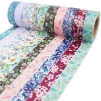 Floral Washi Tape 10m Long Each Roll Decorative Masking Tape Japanese Paper Tapes Fabric Tape for Arts and Crafts, DIY Projects, Scrapbooks, Calendar, Bible Journaling and Gift Wrapping