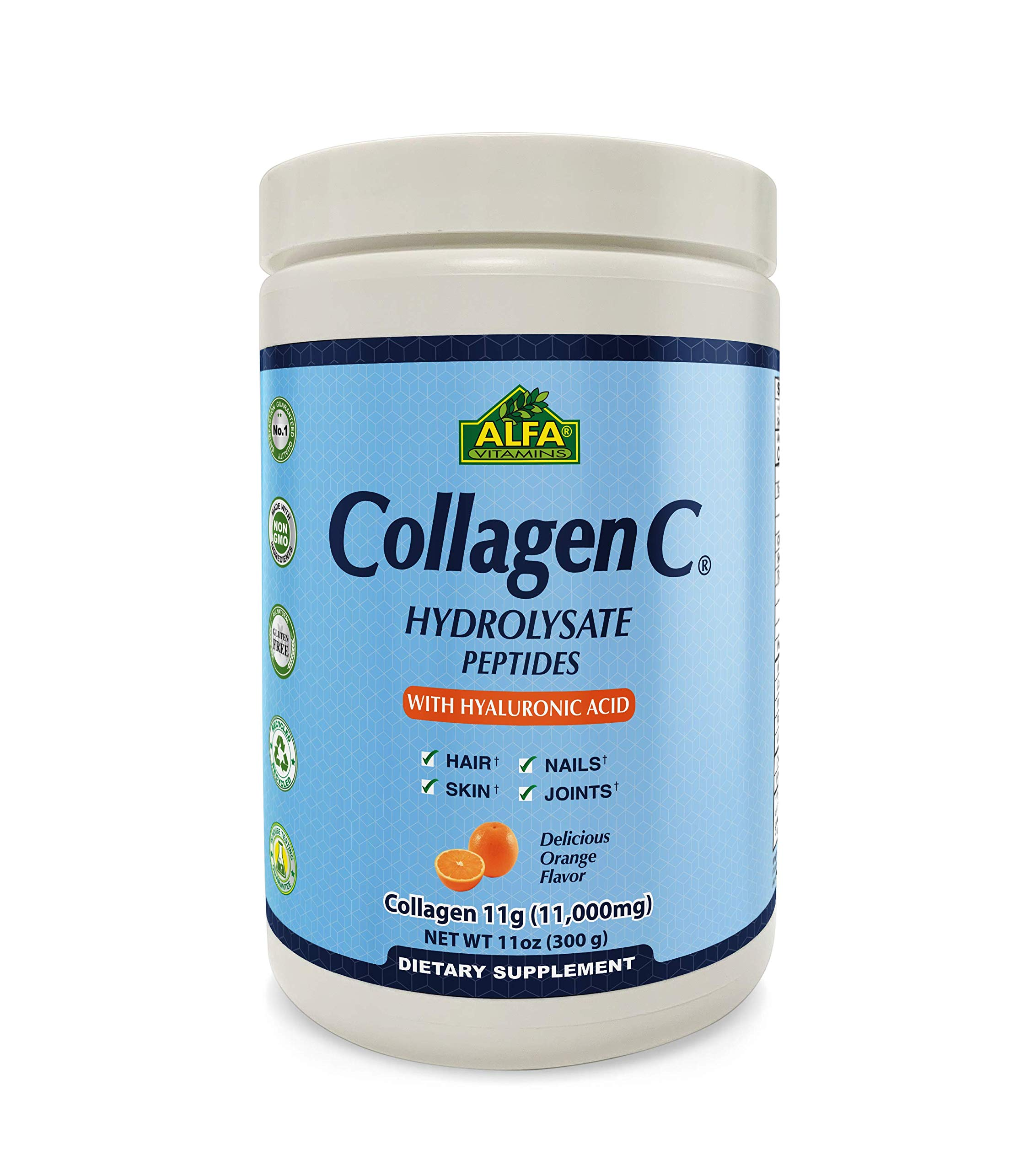 CollagenC Hydrolysate Peptides Powder Supplement with 1,000mg Vitamin C - Premium Quality Source of Nutrients - Skin, Hair, Nails, Immune Boost & Joints Support - Orange Flavor -11 OZ