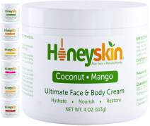 Face and Body Moisturizer Cream - Organic Facial Skin Care For Rosacea Eczema Psoriasis Rashes Itchiness Redness - With Organic Aloe and Manuka Honey - Natural Coconut Mango Scent (4oz)