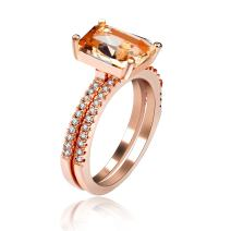 Uloveido Women's 2 pcs Set Rose Gold Plated Emerald Cut Rectangle Simulated Yellow Citrine Solitaire Accent Engagement Wedding Rings (Size 6 7 8 9 10) Y422