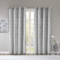 Intelligent Design Raina Total Blackout Metallic Print Grommet Top Window Curtains Panel Thermal Insulated Light Blocking Drape for Bedroom Living Room and Dorm, 50x84, Grey/Silver