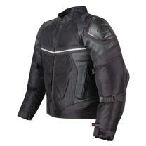 PRO LEATHER & MESH MOTORCYCLE WATERPROOF JACKET BLACK WITH EXTERNAL ARMOR XL