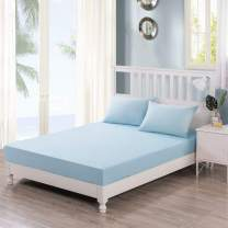 DaDa Bedding Luxury 100% Cotton Fitted Sheet Only - Seafoam Pastel Baby Blue w/Pillow Cases Set - Twin - 2-Pieces