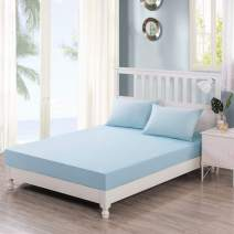 DaDa Bedding Luxury 100% Cotton Fitted Sheet Only - Seafoam Pastel Baby Blue w/Pillow Cases Set - King - 3-Pieces