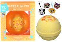 Puppy Bubble Bath Bomb for Girls with Surprise Kids Puppy Dog Necklace Inside by Two Sisters Spa. Large 99% Natural Fizzy in Gift Box. Moisturizes Dry Sensitive Skin. Releases Color, Scent, Bubbles.