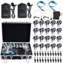 EXMAX EXD-6824 Wireless Tour Guide System Audio Transmission Kit Church Translation Translator Radio 9999 Channels for Listening Teaching Traveling Museum Conference - 2 Transmitters 20 Receiver Case