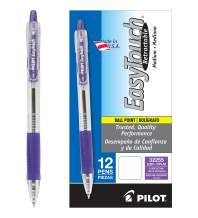 PILOT EasyTouch Refillable & Retractable Ballpoint Pens, Medium Point, Purple Ink, 12 Count (32255)