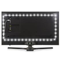 """Luminoodle USB Bias Lighting - LED TV Backlight Strip - Ambient Home Theater Light, TV Accent Lighting to Reduce Eye Strain, Improve Contrast - White - Large (30"""" - 40"""" TV)"""