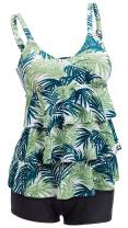 Ecupper Womens Two Piece Tankini Sets Ruffle Top Swimsuit Printed Bathing Suit with Shorts Plus Size Plus Size