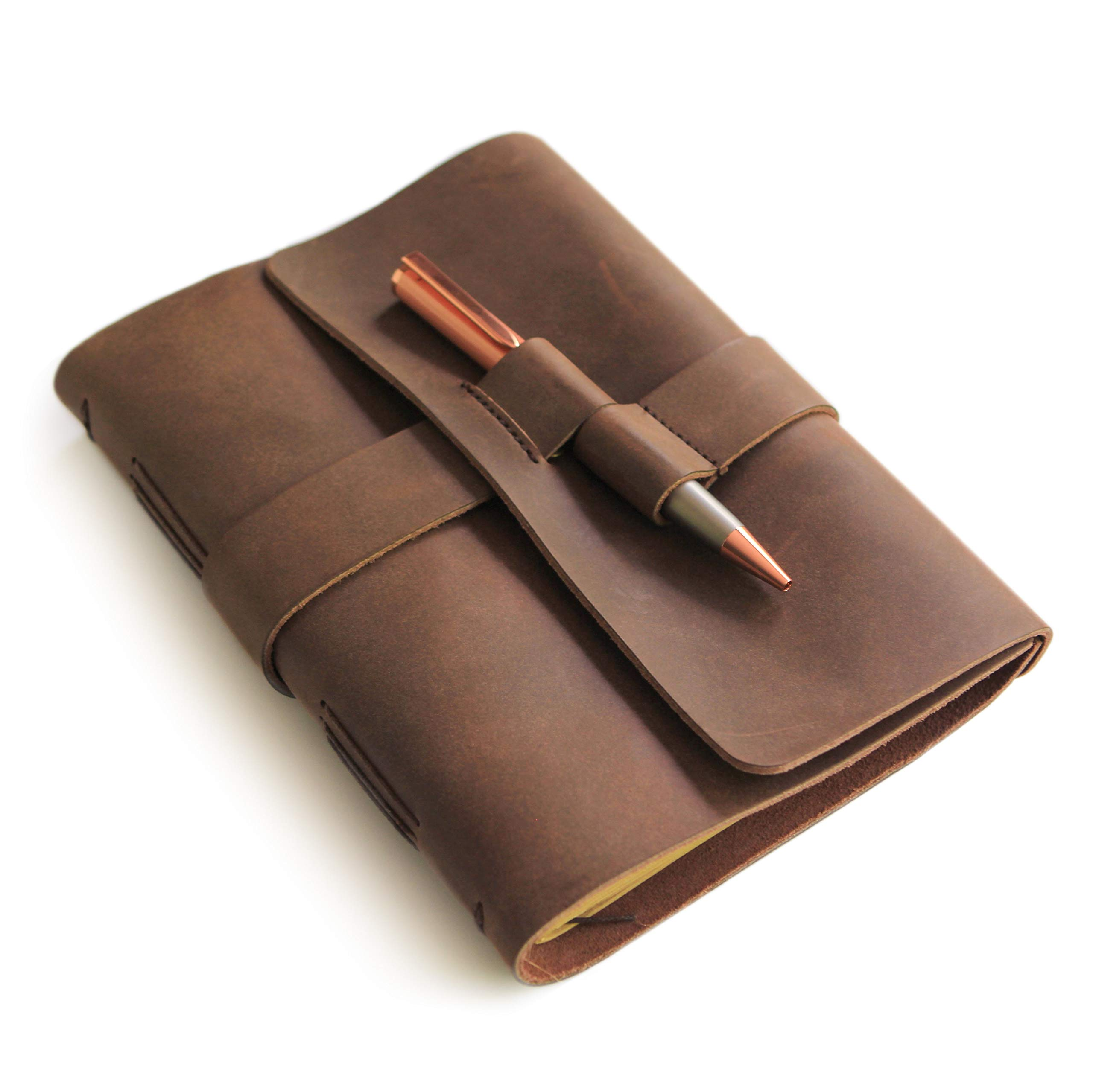 Leather Journal Diary with Rose Gold Pen by case Elegance