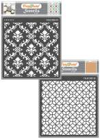 CrafTreat Pattern Stencils for Painting on Wood, Wall, Tile, Canvas, Paper, Fabric and Floor - Ikat Damask and Diamond Tile - 2 Pcs - 6x6 Inches Each - Reusable DIY Art and Craft Stencils