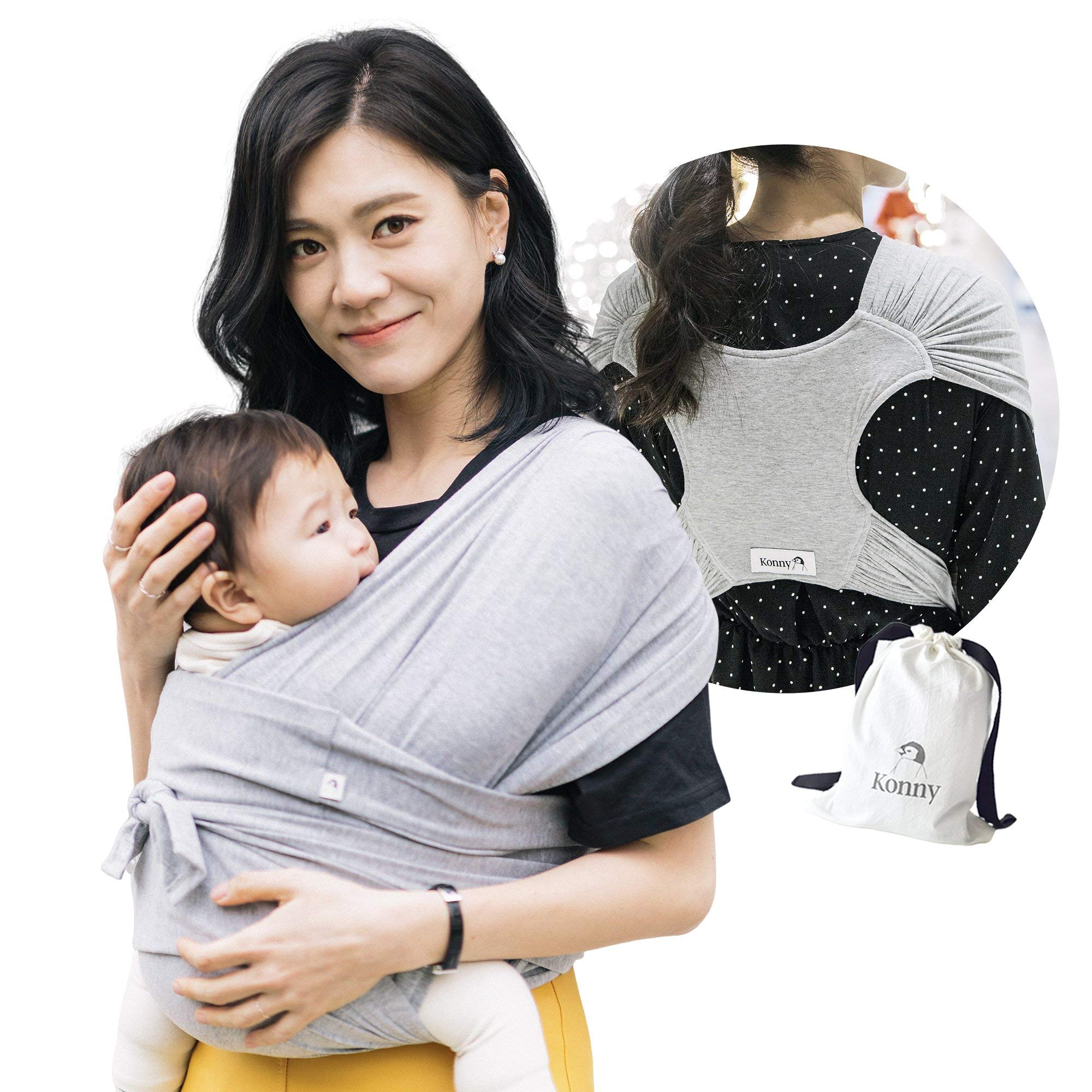 Konny Baby Carrier | Ultra-Lightweight, Hassle-Free Baby Wrap Sling | Newborns, Infants to 44 lbs Toddlers | Soft and Breathable Fabric | Sensible Sleep Solution (Grey, XL)
