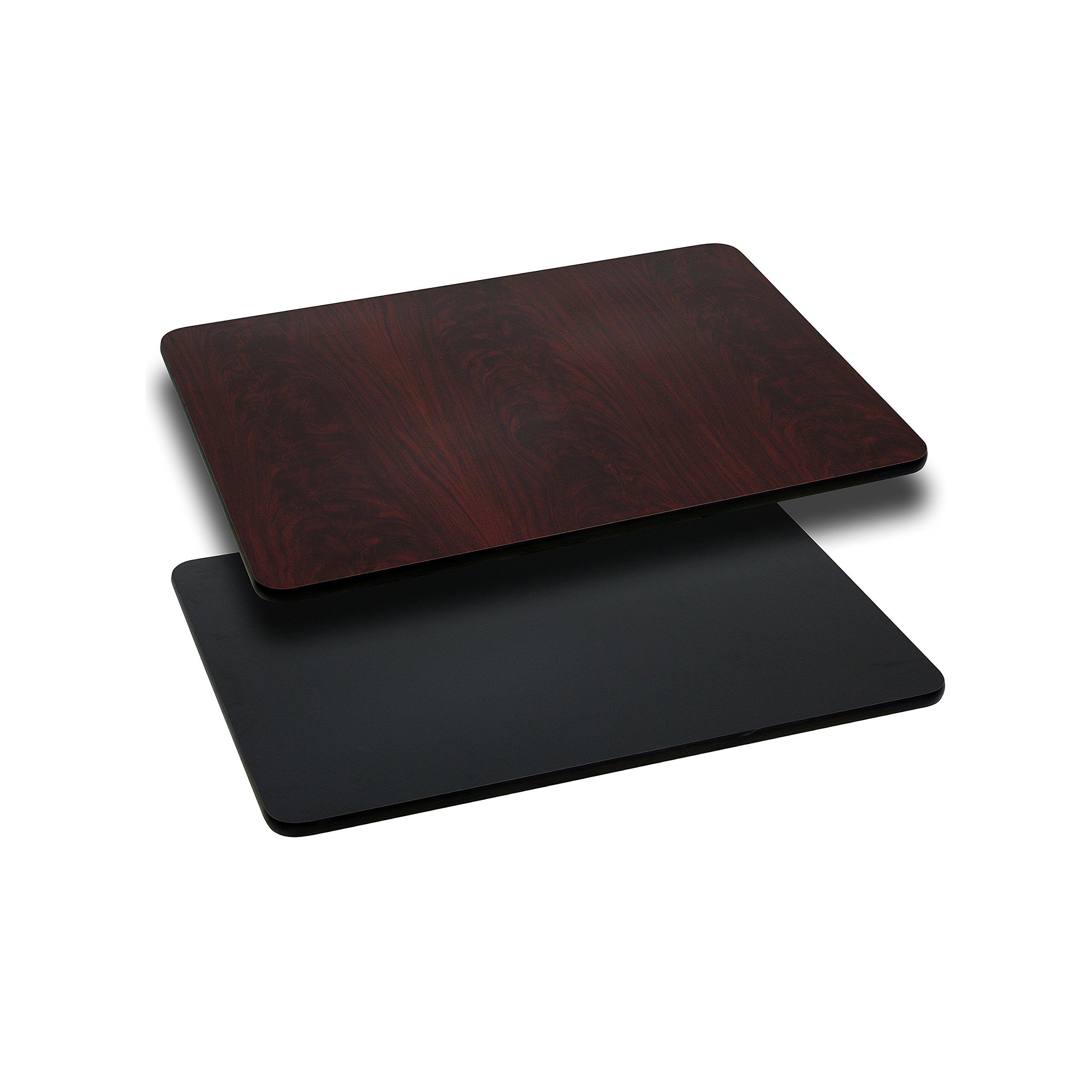 Flash Furniture 24'' x 30'' Rectangular Table Top with Black or Mahogany Reversible Laminate Top