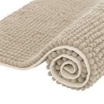 "Subrtex Non-Slip Bath Rugs Bathroom Shower Mat Absorbent Luxury Chenille Plush Doormat(20""x32"",Beige)"