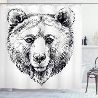 """Ambesonne Animal Shower Curtain, Hand Sketch Grizzly Bear Wildlife Mammal Ink Drawing Nature Theme Artwork, Cloth Fabric Bathroom Decor Set with Hooks, 70"""" Long, White Black"""