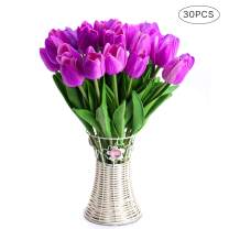 CCINEE 30pcs Real Touch Tulips Purple PU Tulips Artificial Flowers for Wedding Home Centerpiece Decoration