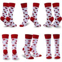 Funny Valentine Socks, Time and River Women's Crazy Novelty Heart Red Lip Patten Crew Socks Gift for Her