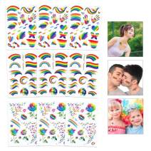 Unime Rainbow Tattoos Temporary Rainbow Stickers Waterproof Body Paint Tattoo Set for Gay Pride Parades Party Celebrations (9 Sheet)