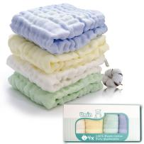 Umiin Baby Washcloths, Soft Cotton Baby Muslin Washcloths and Baby Face Towel Baby Wipes,12 x 12 inches, Set of 4