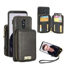 Spritech Case for LG stylo 4, Leather Wallet Case with Credit Card Holder Slot Wallet Zipper Wallet Pocket Purse Handbag Wrist Strap Case for LG Stylo 4 Plus (Q710) / LG Q Stylus