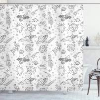 """Ambesonne Nursery Shower Curtain, Doodle Solar System Astronauts Space Crafts Shooting Stars Science Fiction Theme, Cloth Fabric Bathroom Decor Set with Hooks, 75"""" Long, Black White"""