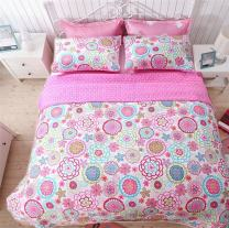 Cozy Line Home Fashions Mariah Pink Polka Dot Colorful Reversible Quilt Bedding Set, Coverlet, Bedspreads (Full/Queen - 3 Piece: 1 Quilt + 2 Standard Shams)