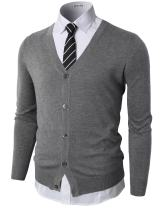 H2H Men's Casual Slim Fit Knitted Cardigan Button Closure Long Sleeve Basic Designed