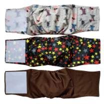 """Cilkus Washable Male Dog Diapers (Pack of 3) - 2019 New Design Male Dog Belly Wrap, Soft and Comfortable, with Adjustable Velcro Straps, Reusable Belly Bands (L(16""""-19""""Waist), Classic Set)"""