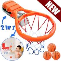 House Ur Home Bath Toy Basketball Hoop & Balls Play Set for Boys and Girls- Kid & Toddler Bathtub Shooting Game with Strong Suctions Cups and Magic Rope Any Flat Surface. Perfect Bath Toys Gift Set.
