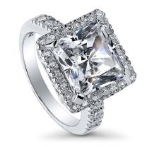 BERRICLE Rhodium Plated Sterling Silver Princess Cut Cubic Zirconia CZ Statement Halo Cocktail Fashion Right Hand Ring