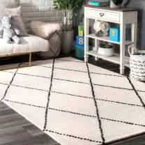 nuLOOM Dotted Diamond Trellis Wool Rug, 4' x 6', Ivory