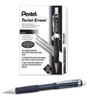 Pentel Twist-Erase III Mechanical Pencil (0.9mm) Black Barrel, 12 Pack (QE519A)
