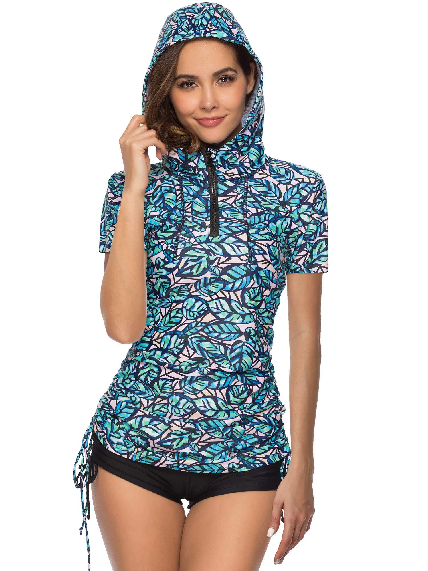 Women's UV Sun Protection Short Sleeve Hooded Rash Guard Half-Zip Side Adjustable Swimsuit Top
