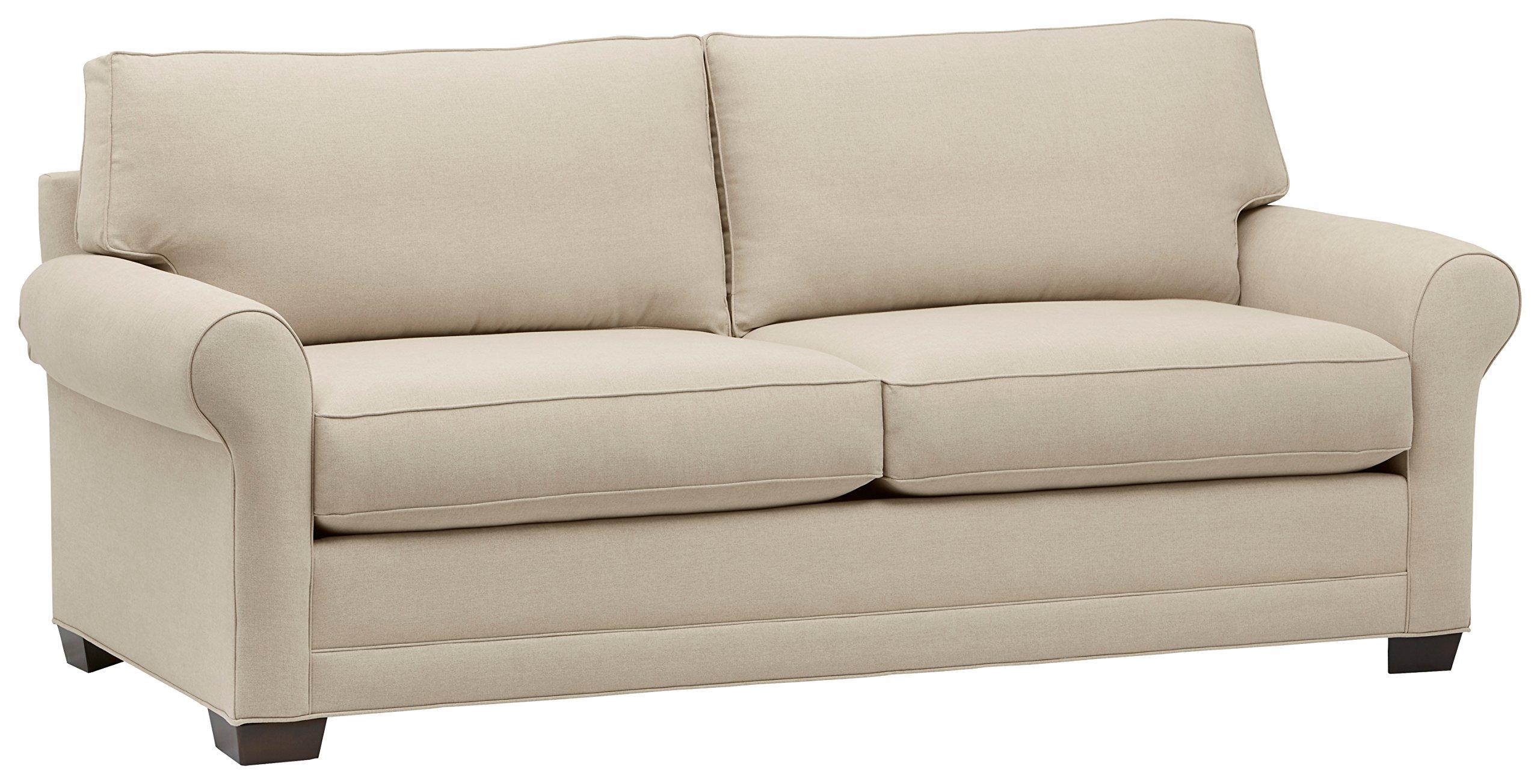 "Amazon Brand – Stone & Beam Kristin Round Arm Performance Fabric Loveseat Sofa Couch, 88""W, Sand"