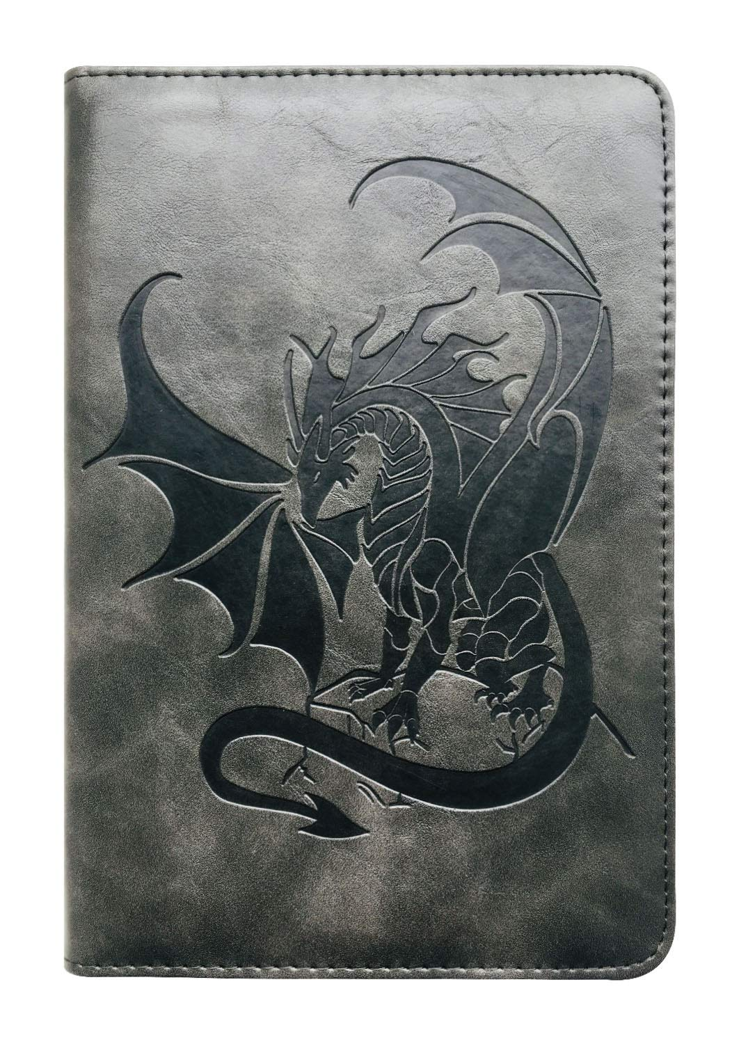 Black Dragon Writing Journal by SohoSpark, Refillable Faux Leather, Lined Personal Diary for Travel, 6x8.75 Notebook for Writers. Fountain Pen Safe with Lay-Flat Binding.
