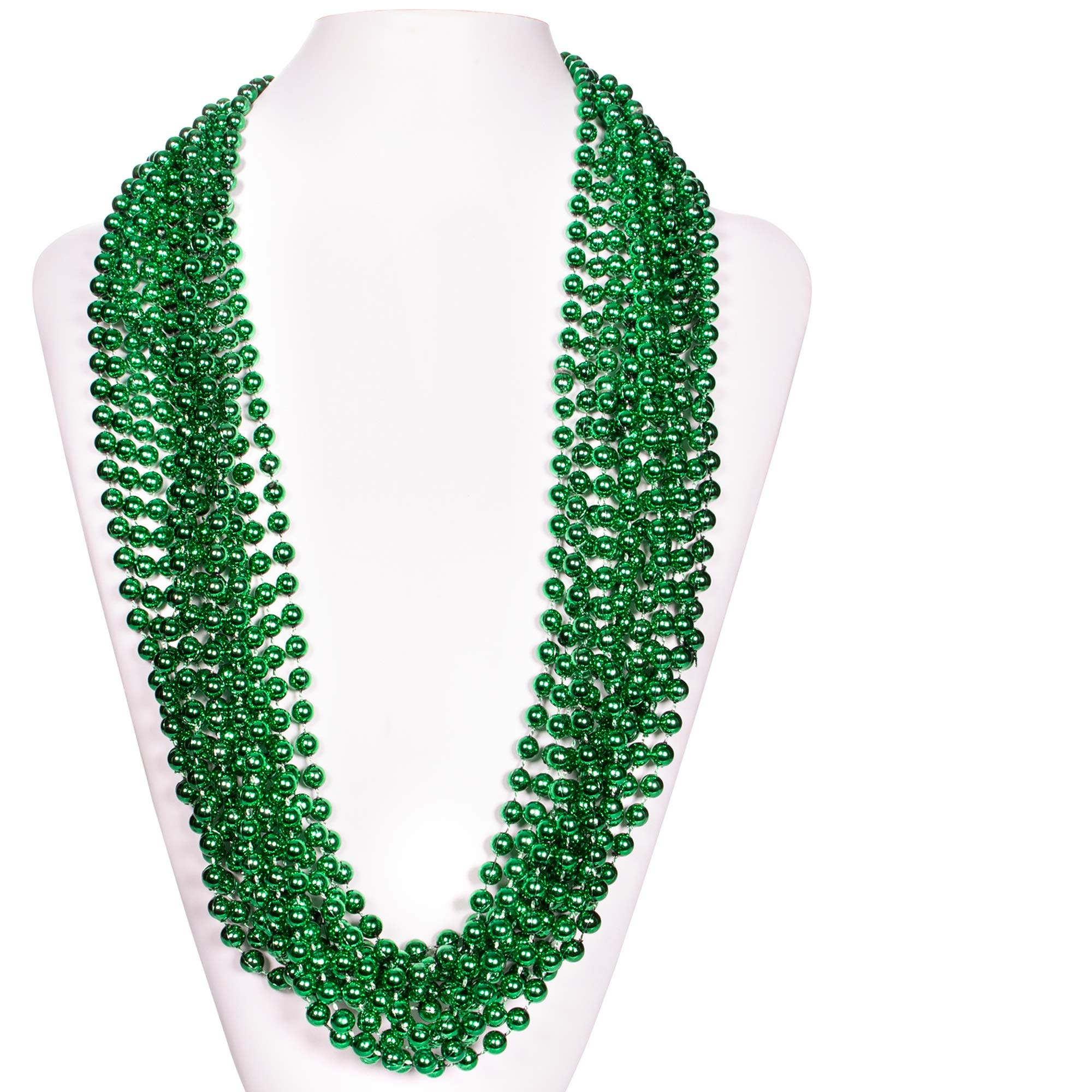 """(72 Pack) 33"""" Inch Round Metallic Mardi Gras St Patricks Party Necklace Beads (Green)"""