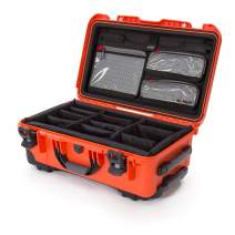 Nanuk 935 Waterproof Carry-On Hard Case with Lid Organizer and Padded Divider w/ Wheels - Orange