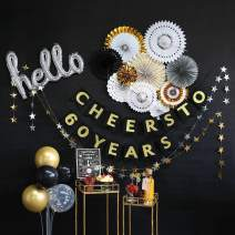 60th Birthday Decorations by Hombae, 60th Bday Décor for Women or Men, 60th Wedding Anniversary Decorations, 60 Years Old Party Supplies, Cheers to 60 Years Banner