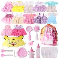 Fits 12'' 13'' 14'' 15'' Bitty Baby Alive Doll Clothes Diapers 360°Sewing Dresses for American Girl Dolls with Doll Nappies, Umbrella, Milk Bottle, Nipple, and Doll Accessories Pack of 25 Bag Set