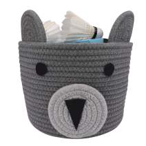 Cotton Rope Basket Small Woven Storage Basket Bear Pattern Decorative Hampers | LONTAN Design Collapsible Baby Hamper Small Bins for Toys, Snacks, 8''X7'', Gray